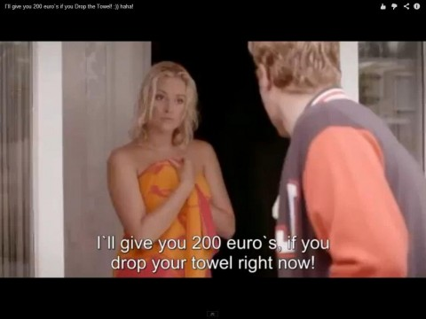 Drop your towel and I'll give you 200 euros.