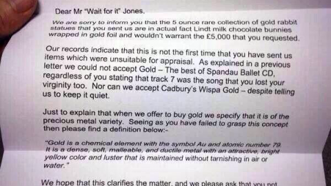 Cash for Gold Reply